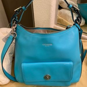Turquoise blue leather Coach satchel- Brand new!